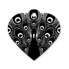 Peacock Bird Animal Feather Dog Tag Heart (two Sides) by Celenk