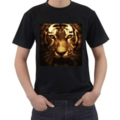 Cat Tiger Animal Wildlife Wild Men s T Shirt (black) (two Sided) by Celenk