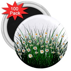 Spring Flowers Grass Meadow Plant 3  Magnets (100 Pack) by Celenk