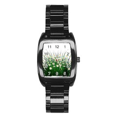 Spring Flowers Grass Meadow Plant Stainless Steel Barrel Watch