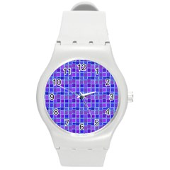 Background Mosaic Purple Blue Round Plastic Sport Watch (m) by Celenk