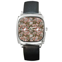 Grunge Textured Abstract Pattern Square Metal Watch by dflcprints
