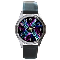 Abstract Art Color Design Lines Round Metal Watch by Celenk