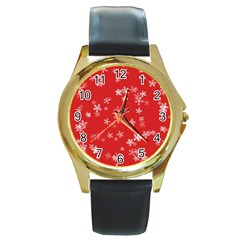 Template Winter Christmas Xmas Round Gold Metal Watch by Celenk