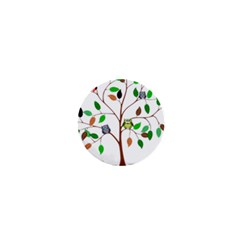 Tree Root Leaves Owls Green Brown 1  Mini Buttons