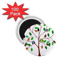 Tree Root Leaves Owls Green Brown 1 75  Magnets (100 Pack)  by Celenk