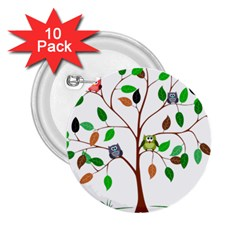 Tree Root Leaves Owls Green Brown 2 25  Buttons (10 Pack)  by Celenk