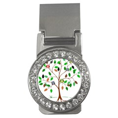 Tree Root Leaves Owls Green Brown Money Clips (cz)  by Celenk