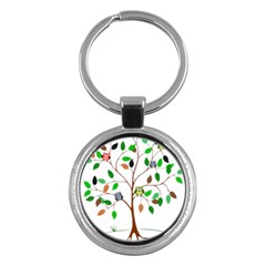 Tree Root Leaves Owls Green Brown Key Chains (round)  by Celenk