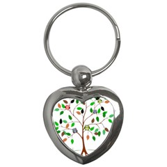 Tree Root Leaves Owls Green Brown Key Chains (heart)  by Celenk