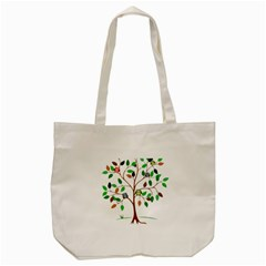 Tree Root Leaves Owls Green Brown Tote Bag (cream) by Celenk