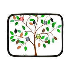 Tree Root Leaves Owls Green Brown Netbook Case (small)  by Celenk