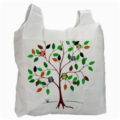 Tree Root Leaves Owls Green Brown Recycle Bag (two Side)  by Celenk