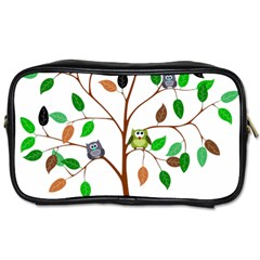 Tree Root Leaves Owls Green Brown Toiletries Bags by Celenk