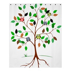 Tree Root Leaves Owls Green Brown Shower Curtain 60  X 72  (medium)  by Celenk