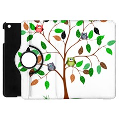 Tree Root Leaves Owls Green Brown Apple Ipad Mini Flip 360 Case by Celenk