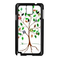 Tree Root Leaves Owls Green Brown Samsung Galaxy Note 3 N9005 Case (black) by Celenk