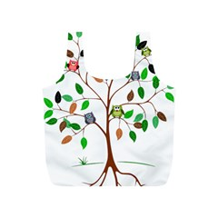 Tree Root Leaves Owls Green Brown Full Print Recycle Bags (s)  by Celenk