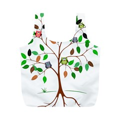 Tree Root Leaves Owls Green Brown Full Print Recycle Bags (m)  by Celenk