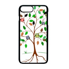 Tree Root Leaves Owls Green Brown Apple Iphone 7 Plus Seamless Case (black) by Celenk
