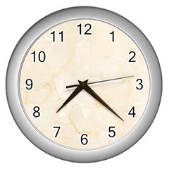 Rock Tile Marble Structure Wall Clocks (silver)  by Celenk