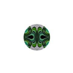 Fractal Art Green Pattern Design 1  Mini Buttons
