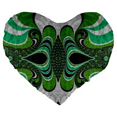 Fractal Art Green Pattern Design Large 19  Premium Flano Heart Shape Cushions by Celenk