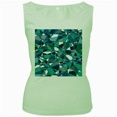Abstract Background Blue Teal Women s Green Tank Top by Celenk
