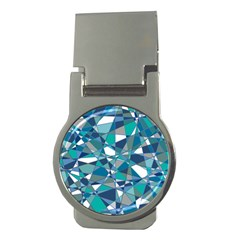 Abstract Background Blue Teal Money Clips (round)  by Celenk