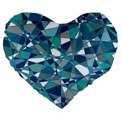 Abstract Background Blue Teal Large 19  Premium Flano Heart Shape Cushions by Celenk
