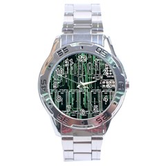 Printed Circuit Board Circuits Stainless Steel Analogue Watch by Celenk