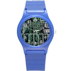 Printed Circuit Board Circuits Round Plastic Sport Watch (s) by Celenk