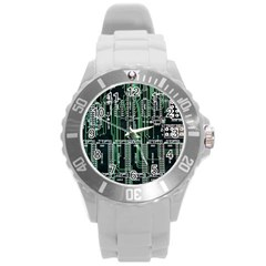 Printed Circuit Board Circuits Round Plastic Sport Watch (l) by Celenk