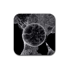 Space Universe Earth Rocket Rubber Square Coaster (4 Pack)  by Celenk