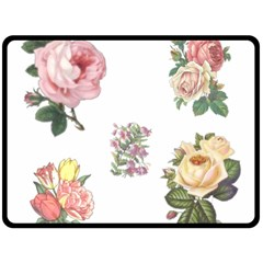 Rose Flowers Campanula Bellflower Double Sided Fleece Blanket (large)  by Celenk
