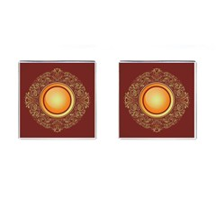 Badge Gilding Sun Red Oriental Cufflinks (square) by Celenk