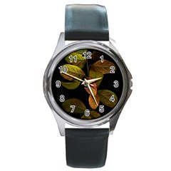 Autumn Leaves Foliage Round Metal Watch by Celenk