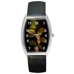 Autumn Leaves Foliage Barrel Style Metal Watch by Celenk