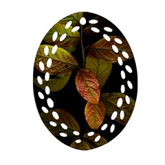 Autumn Leaves Foliage Oval Filigree Ornament (two Sides) by Celenk