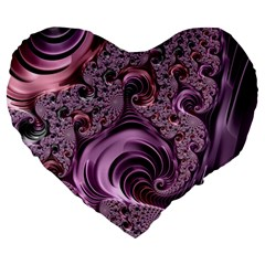 Abstract Art Fractal Large 19  Premium Flano Heart Shape Cushions by Celenk
