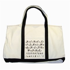 Font Lettering Alphabet Writing Two Tone Tote Bag by Celenk