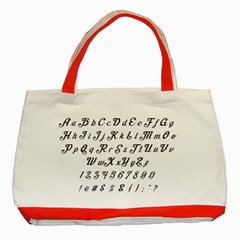 Font Lettering Alphabet Writing Classic Tote Bag (red) by Celenk