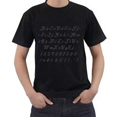 Font Lettering Alphabet Writing Men s T Shirt (black) by Celenk