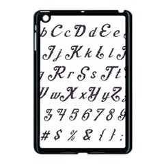Font Lettering Alphabet Writing Apple Ipad Mini Case (black) by Celenk