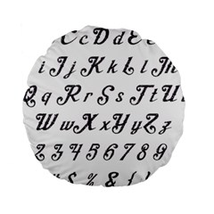 Font Lettering Alphabet Writing Standard 15  Premium Round Cushions by Celenk