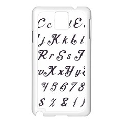 Font Lettering Alphabet Writing Samsung Galaxy Note 3 N9005 Case (white) by Celenk