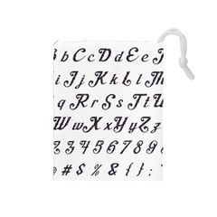 Font Lettering Alphabet Writing Drawstring Pouches (medium)  by Celenk