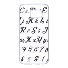Font Lettering Alphabet Writing Samsung Galaxy S7 Edge White Seamless Case by Celenk