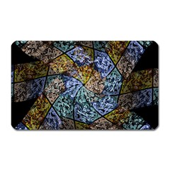 Multi Color Tile Twirl Octagon Magnet (rectangular)