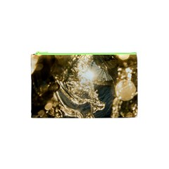 Gold Sea Coast Waves Depier Cosmetic Bag (xs) by Celenk